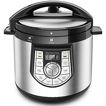 12-in-1 Pressure Cooker - Elechomes 1000 W 6 Qt Multi-use Programmable Electric Pressure Cooker, Slow Cooker, Rice Cooker, Yogurt Maker, Cake Maker, Egg Cooker, Saute Steamer, Warmer, and Sterilizer