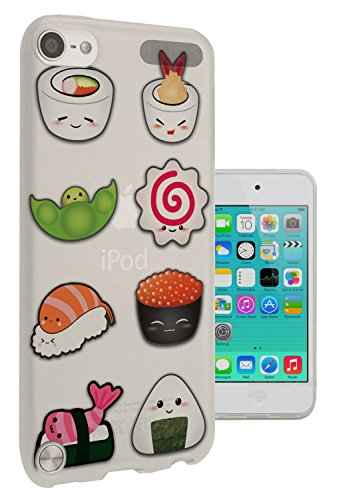 c0299 - Cool Cute fun sushi doodle maki california roll food lover kawaii Design Apple ipod Touch 5 Fashion Trend CASE Gel Rubber Silicone All Edges Protection Case Cover