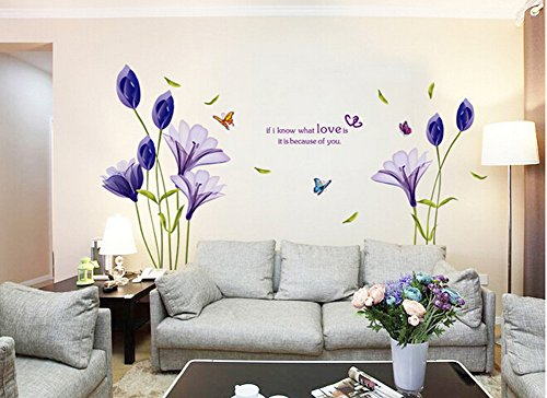 Blue Lily Flowers With Butterflies Removable Vinyl Mural Wall Decor Decals  For Living Room/Bedroom/Hallway/Sitting Room/Play Room/Kindergarten/Kids ... Part 78