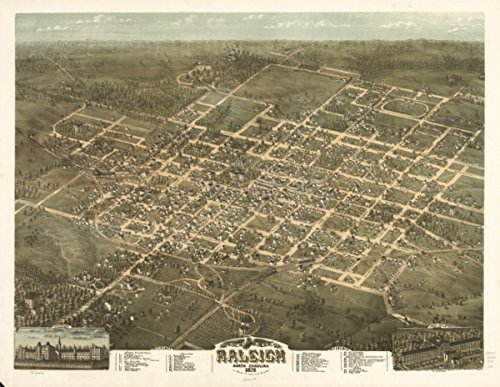 Map: 1872 Bird's eye view of the city of Raleigh, North Carolina 1872|North Carolina|Raleigh|Raleigh NC| (Furniture Raleigh Cheap Nc)