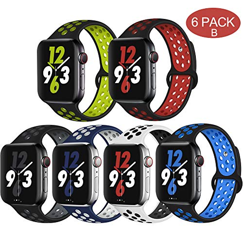 OriBear Compatible for Apple Watch Band 44mm 42mm, Breathable Sporty for iWatch Bands Series 4/3/2/1, Watch Nike+, Various Styles and Colors for Women and Men(M/L,6 Pack B)