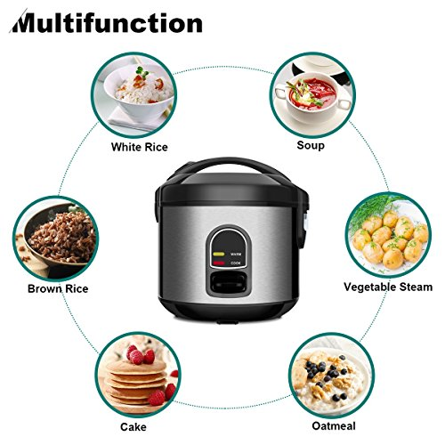 Electric Rice Cooker Food Steamer, 5-Cup (Uncooked) Small Stainless Steel Rice Cooker Multi-Food Steamer, 1-Step Automatic Smart Rice Warmer Food Cooker Steamer for Grains and Hot Cereal by CUSINAID