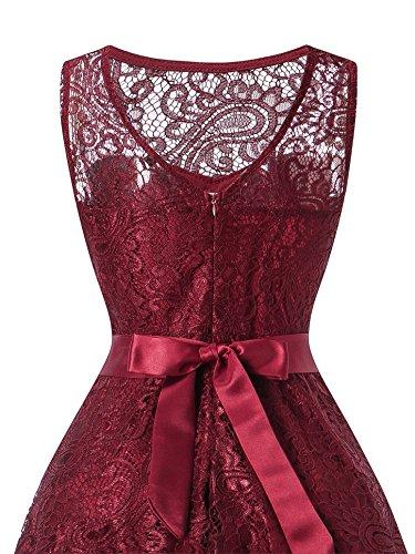Da Rosso Elegante Abito Donna Nuda Matrimonio Cerimonia Vestito Vestiti Monyray Banchetto Cocktail Pizzo Senza Maniche Sera Schiena A 5qXxT8gfw