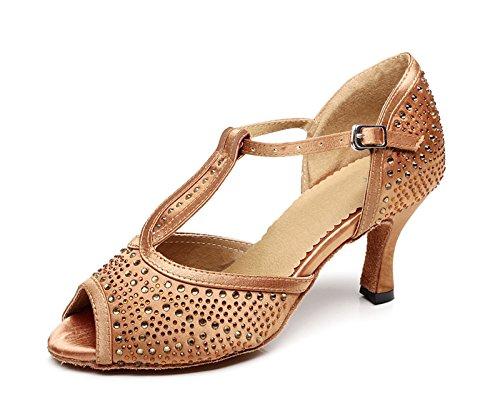 Miyoopark , Damen Tanzschuhe , Braun - Bronze-7.5cm Heel - Größe: 38
