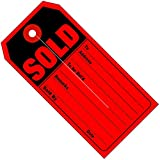 BOX USA BG26010 Retail Tags,Sold, 4 3/4'' x 2 3/8'', Red/Black (Pack of 500)