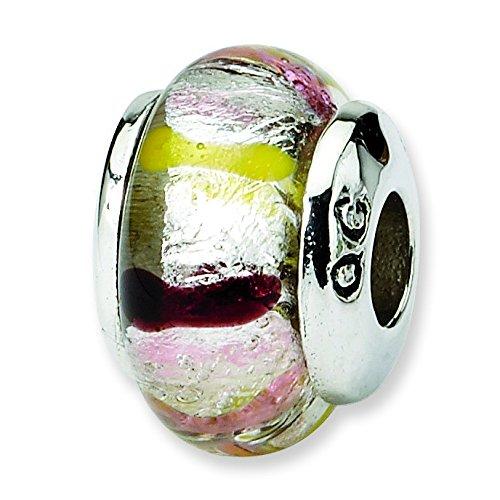 Ster. réflexions Kids-Argent-Perle en verre de Murano Charm JewelryWeb Rose