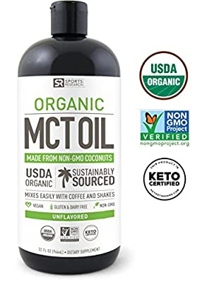 NEW!! 100% Organic MCT Oil from Coconut (32oz) ~ Non-Gmo Project Veified, USDA Organic,Vegan, Keto and Paleo Certified ~ Great for Coffee,Tea, Smoothies & Salad Dressings -Unflavored