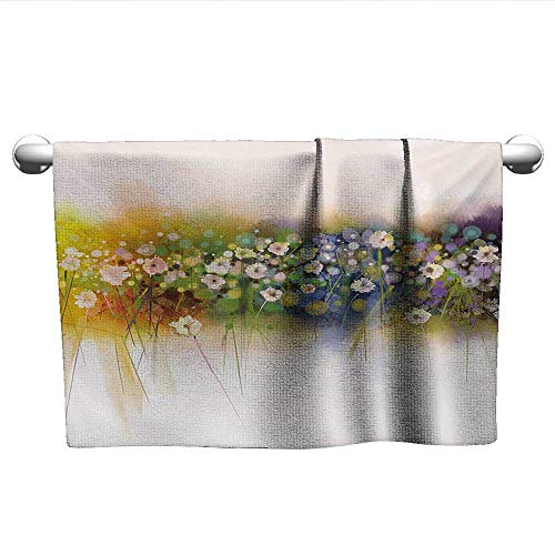 (alisoso Flower,Hair Towel Vogue Display Wisteria Violets Wreath Fragrant Plants Herbs Spring Season Artsy Dry Fast Towel Multicolor W 10