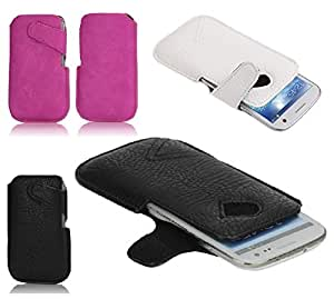 DFV mobile - Leather case pocket pouch sleeve bag with side buckle velcro > doogee dg350 / doogee pixels, color blanco