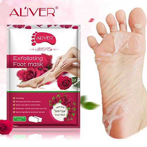 2 Pairs Foot Peel Mask, Exfoliating Callus Peel Booties,Peeling Off Calluses & Dead Skin, Baby Your Foot Naturally in 1 Week (Rose)