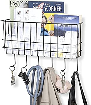 Amazon Com Wall35 Sicily Key And Mail Holder For Wall Metal Coat Rack Wall Mounted Wire Basket Entryway Organizer Dog Leash Purse Mail Holder With Key Hooks Black Office Products
