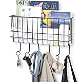key storage rack - WALL35 Unique Metal Wire Basket - Wall Mounted Entryway Organizer - Key Holder - Coat Rack with Hooks - Mail and Magazine Holder (Black)