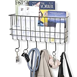 Entryway WALL35 Sicily Key and Mail Holder for Wall – Metal Coat Rack Wall Mounted Wire Basket – Entryway Organizer Dog Leash…