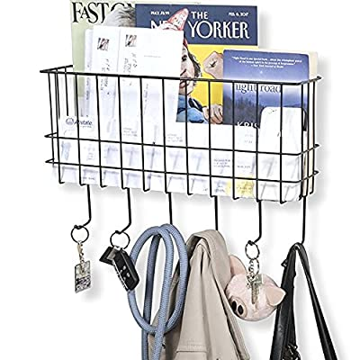 WALL35 Sicily Key and Mail Holder for Wall - Metal Coat Rack Wall Mounted Wire Basket - Entryway Organizer Dog Leash, Purse, Mail Holder with Key Hooks - Black - Wonderful Office Desk Organizer: Don't let your monthly bills, catalogs and pamphlets pile up on your kitchen counter top or coffee table, organize with style and tidy up your home with a basket organizer that is stylish, fancy and decorative. Even legal size paper ,files and documents fits in perfectly in this space saving office organizer Simple to Install: Without requiring any assembly, this metal entryway hanger organizer is ready to use. The mounting screws and anchors are included in the packaging to save you time from taking a trip to the hardware store. Space Saver: This nifty and compact wire basket with hooks is a great addition to your home, it will create extra floor space while helping you hang your everyday essential needs. It is great for storing keys, hat, coat, bag, umbrella, dog leash and cat collar. - entryway-furniture-decor, entryway-laundry-room, coat-racks - 5160ovA8n7L. SS400  -