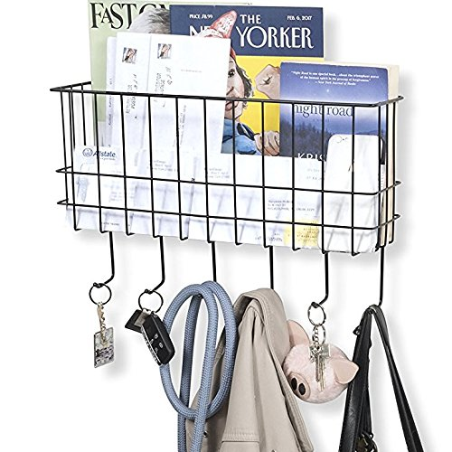 WALL35 Unique Metal Wire Basket Wall Mounted Foyer Organizer Mail Sorter Key Coat Hook Magazine Rack Black