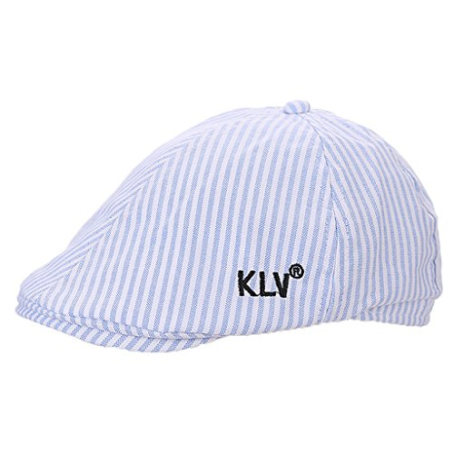 Doober Kids Patchwork Ivy League Irish Cabbie Flat Cap British Style Striped Peaked Hat (Blue)
