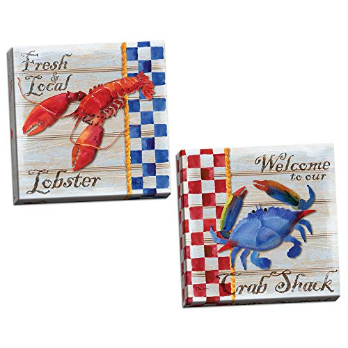 (Nautical Watercolor-Style Blue Crab and Red Lobster Set by Paul Brent; Coastal Décor; Two 16x16in Hand-Stretched)