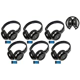 6 Pack of Two Channel Fold Adjustable Universal Entertainment System Infrared Headphones 6 Additional 48'' 3.5mm Auxiliary Cords Wireless IR DVD Player Head Phones Car TV Video Audio Superior Sound