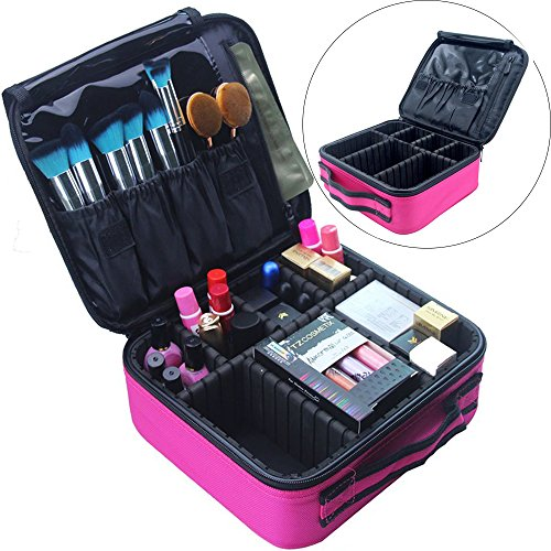 Travel Makeup Bag Train Case Makeup Cosmetic Case Organizer Portable Artist Storage Bag for Cosmetics, Brushes, Toiletries, Travel Accessories, Jewelry and Digital accessories 10.3