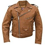 Mens Brown Motorcycle Jacket Premium Buffalo Leather , Full Zipout Liner & Side Laces - 46 - AL2015