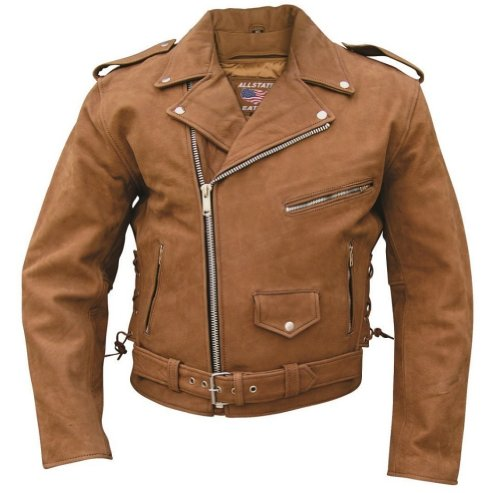 - Mens Brown Motorcycle Jacket Premium Buffalo Leather , Full Zipout Liner & Side Laces - 56 - AL2015