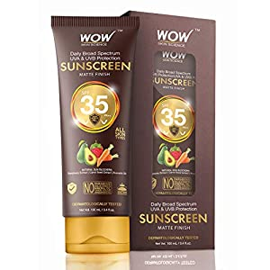 WOW Skin Science Matte Finish Sunscreen Lotion Spf 35 Pa++ – No Parabens, Silicones, Mineral Oil, Oxide, Colour…