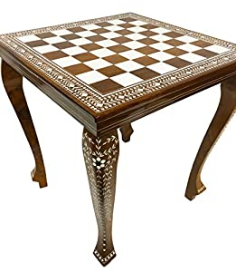 Chess Table Sheesham Rosewood with Handmade Inlay