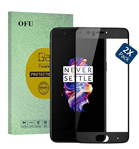 Full Screen-Oneplus 5T Smartphone Glass Screen Protector(Black)-2 Piece