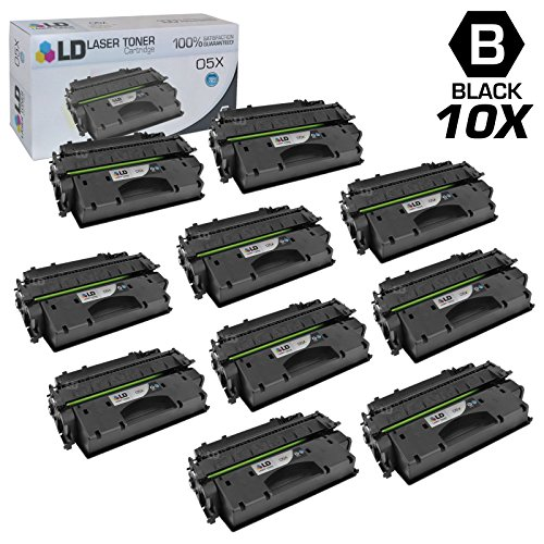 LD Compatible Toner Cartridge Replacement for HP 05X CE505X High Yield (Black, 10-Pack) (Hp 10k Yield Toner)