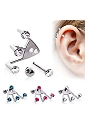 "316L Surgical Steel ?Trident Triple? Round CZ Cartilage Earring - 16GA L:1/4"" - Sold as a Pair"