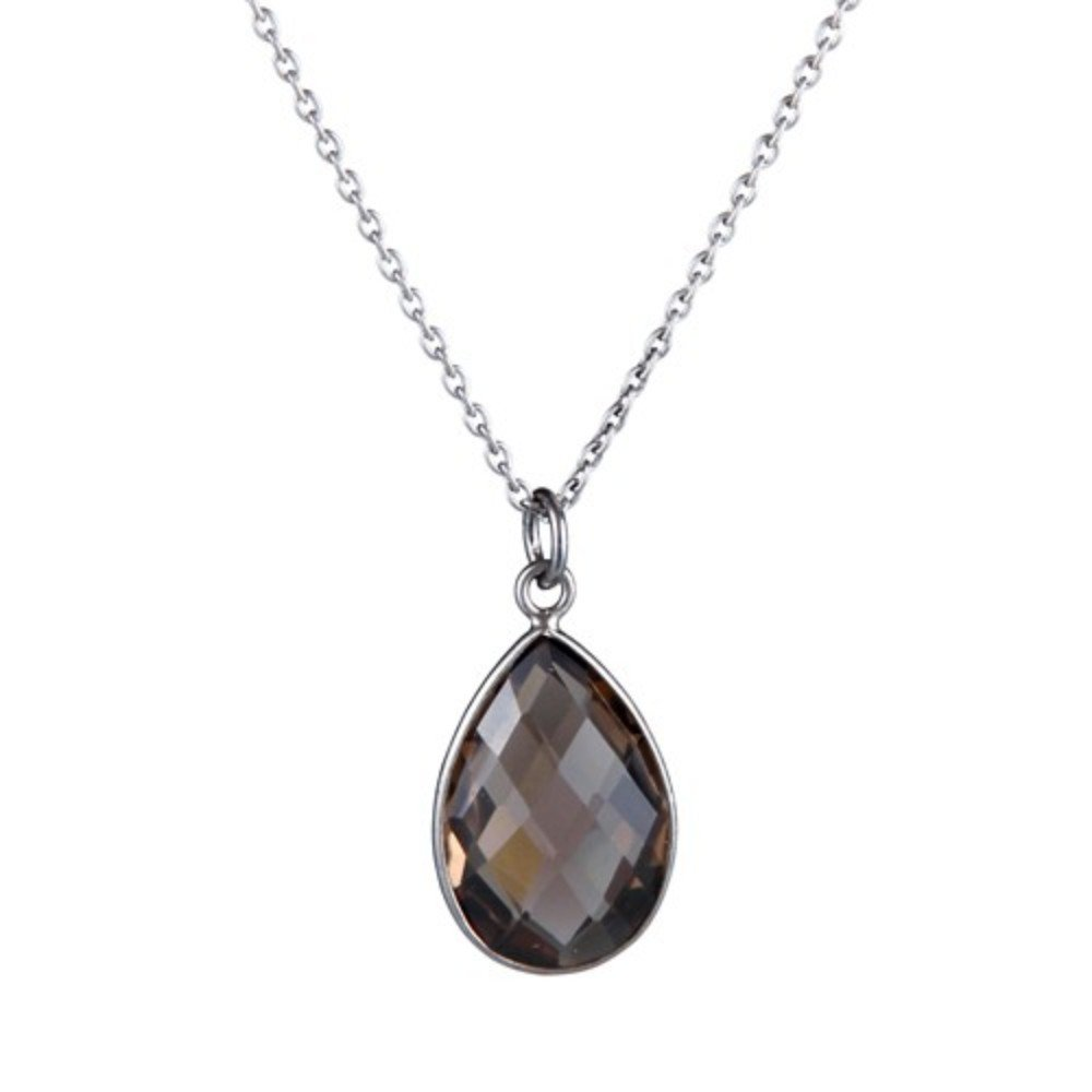 Nathis Really Pretty Necklace in Black with a Drop of Smoky Topaz Gemstone