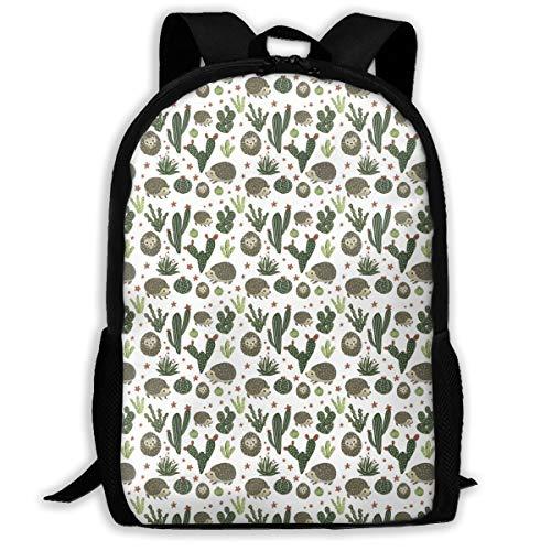 (UYILP Prickly Cactus Hedgehog Adult Premium Travel Backpack, Water-Resistant Big Business College School Bookbag Daypack,Rucksack, Laptop Bag for Men&Women)