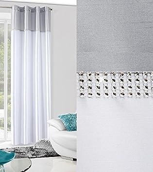 Dekorativ Blickdicht Vorhang Ösen 140x250 Cm TIARA 2 Silber Weiß  Schlafzimmer Glänzende Kristalle Lichtundurchlässigkeit