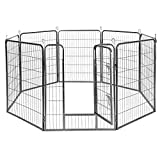 Giantex 24/32/40/48inch Dog Playpen with Door, 16/8 Panel Pet Playpen for Large and Small Dogs, Portable Foldable Freestanding Dog Exercise Pens, Metal Dog Playpen Indoor & Outdoor (8 Panels, 40)