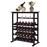 24 Bottle Standing Wood Wine Rack   Holder   Storage   Display Shelf, with Glass Hanger, 31