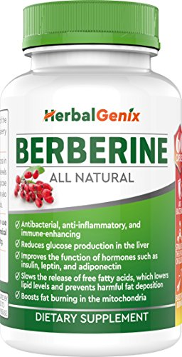 Lower Cholesterol, Triglyceride, Weight & Lower Blood Sugar with HerbalGenix Berberine 500mg HCL Supplement. All Natural Ingredients. Antioxidant, AMPK Supplement. Non-GMO/Gluten Free/Vegan Caps (Vitamins To Help Lower Cholesterol And Triglycerides)