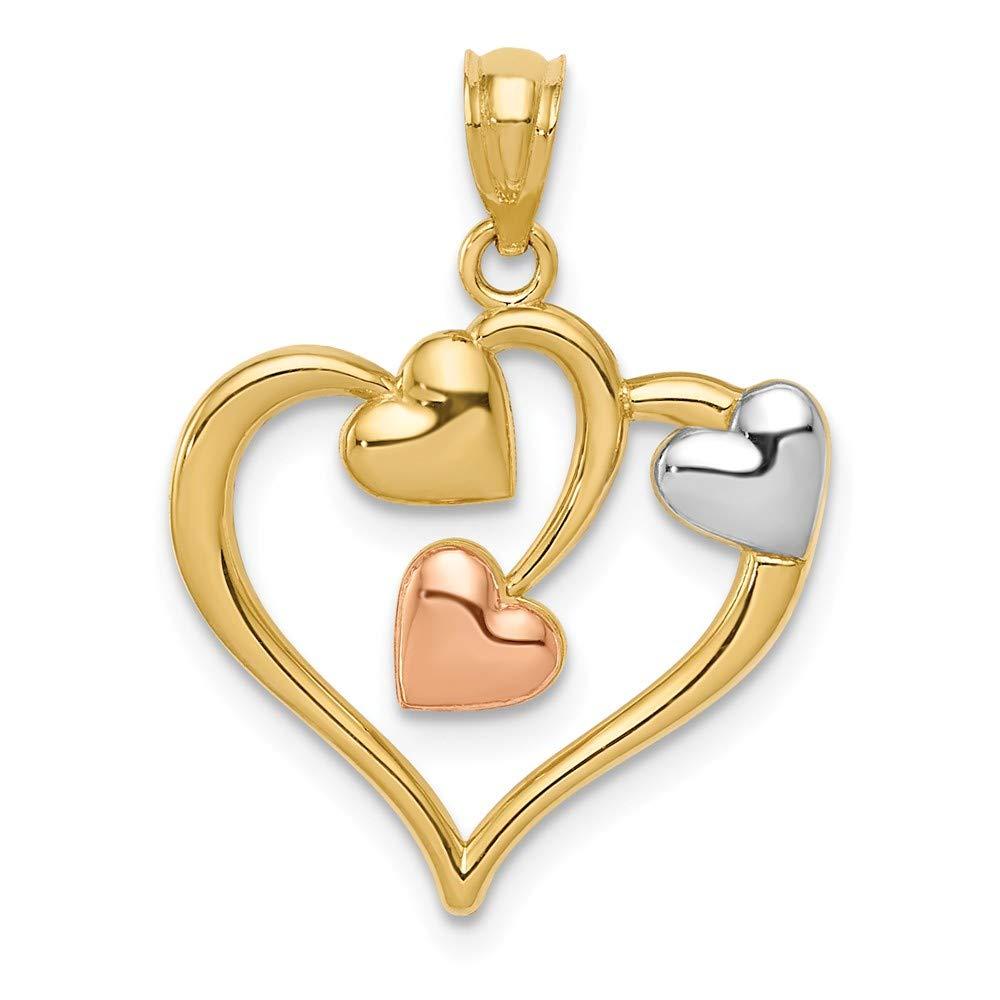 Mia Diamonds 14k Gold Yellow and Rose with Rhodium Polished Three Hearts Pendant