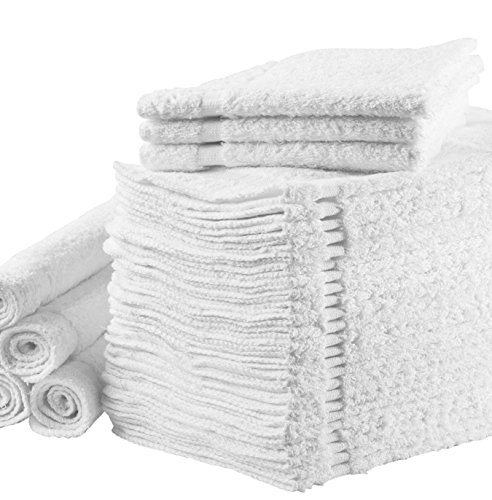 "Washcloths Towel Set (White, Bulk Pack of 24), Kitchen & Dish Cotton Cloth, Bath and Face Cleansing, Baby Washcloth, Multi-Purpose Soft Cleaning Rags - Hand, Gym, Spa, Sports 12""X12"" Towels by (Mini Towel)"