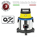 EOLO PROFESSIONAL VACUUM CLEANER FOR SOOT AND WARM ASH + ACCESSORIES KIT LP31 INOX GT (17 litres) MADE IN ITALY 230 Volts (before order on request 110-120 Volts)