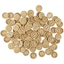 WINGONEER 100pcs 2 Holes Handmade With Love Natural Wood Sewing Button 25mm