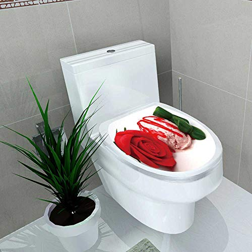 Decal Wall Art Decor Strawberry ice Cream Scoop Marzipan Rose Bathroom Creative Toilet Cover Stickers W13 x L13 ()