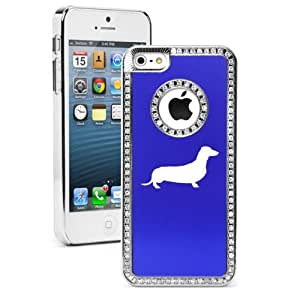 Apple iPhone 5c Blue CS2186 Rhinestone Crystal Bling Aluminum Plated Hard Case Cover Dachshund