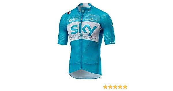 Amazon.com   Castelli 2018 Men s Team Sky Climbers 2.0 Short Sleeve Cycling  Jersey - V4008202   Sports   Outdoors 7bf5e8cd5