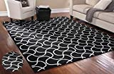 "Stylish Area Rug 7'5"" X 9'5"" Carpet Mat Black and White Design Drizzle Home Living Room Floor Interior Decor Contemporary Modern Designer, Durable Stain Resistant, Rectangular Shape, Made in USA"