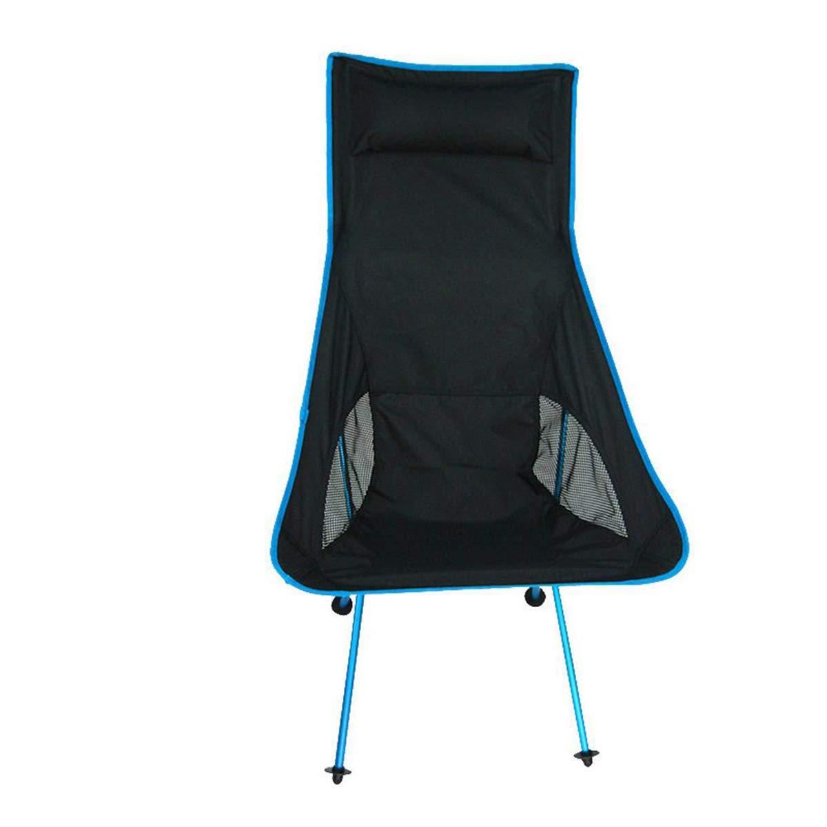 bleu  Folding Stool Chaise de Camping Chaise de Pêche Pliante Ultra Légère, Chaise de Jardin Extérieure portable Compacte avec Appui-tête pour Les Voyages BBQ Plage Pique-Nique (capacité 150 Kg) Orange