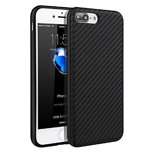 iPhone 7 Plus Case, Airart Premium Slim Business Style TPU Shockproof Case Cover with Carbon Fiber Grip Back Pattern Design for Apple iPhone 7 Plus (2016) 5.5 inch, Black