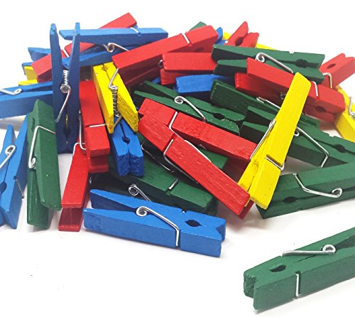Play Kreative Bright Colored Wooden Clothespins - Hanging Pin Craft Clips - 50 Pack - 2 3/8