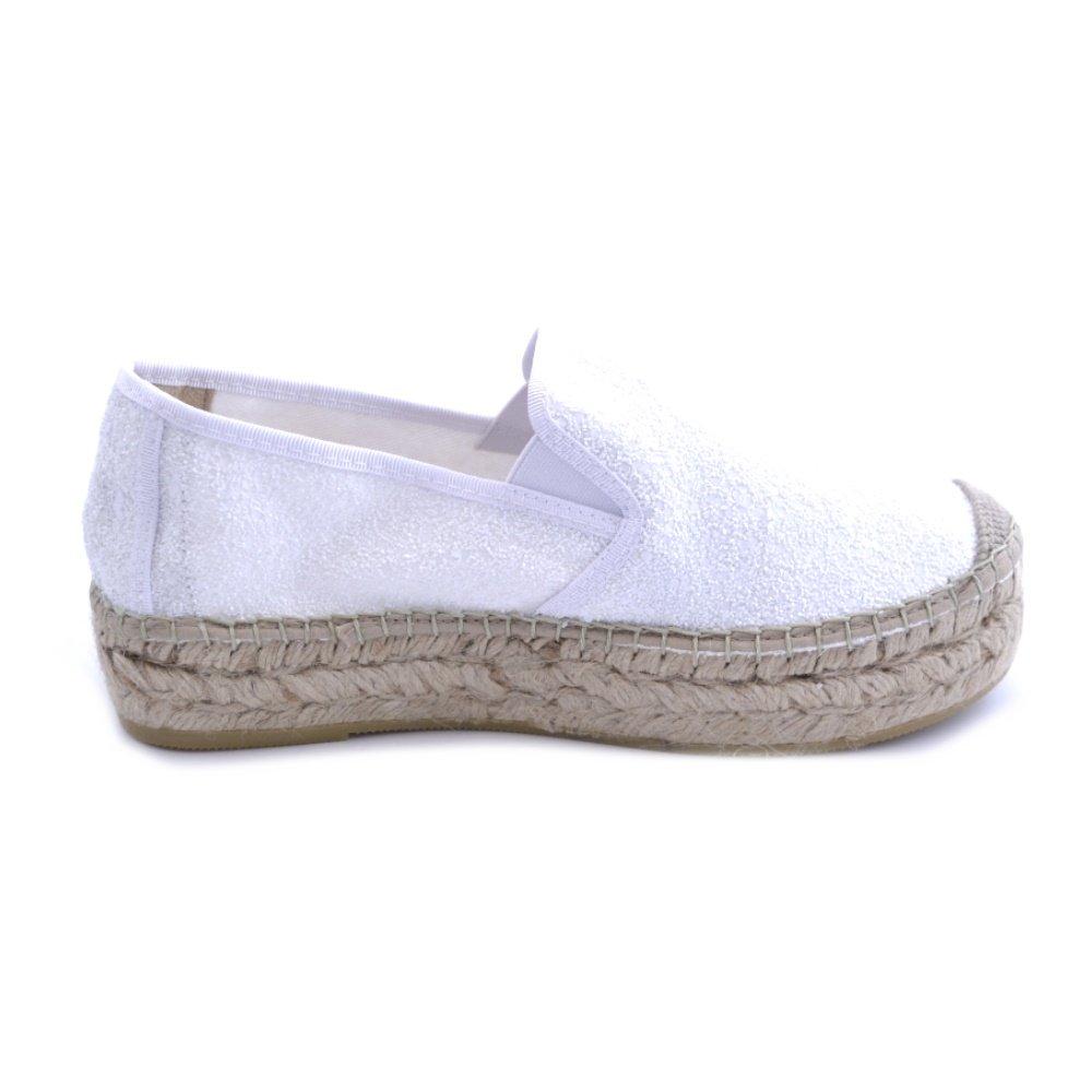 Amazon.com | Vidorreta Womens Espadrillas in Glitter White Fabric. 4cm Rubber Raffia and Rubber wrap. Made in Spain | Loafers & Slip-Ons
