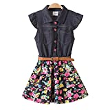 JUXINSU Girl Sleeveless Denim Dresses for Summer Baby Kids Cotton Flower Skirt 3-8 Years SH2168 (8T, Navy)