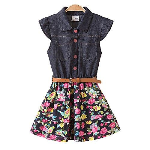 JUXINSU Girl Sleeveless Denim Dresses for Summer Baby Kids Cotton Flower Skirt 3-8 Years SH2168 (8T, Navy) by JUXINSU